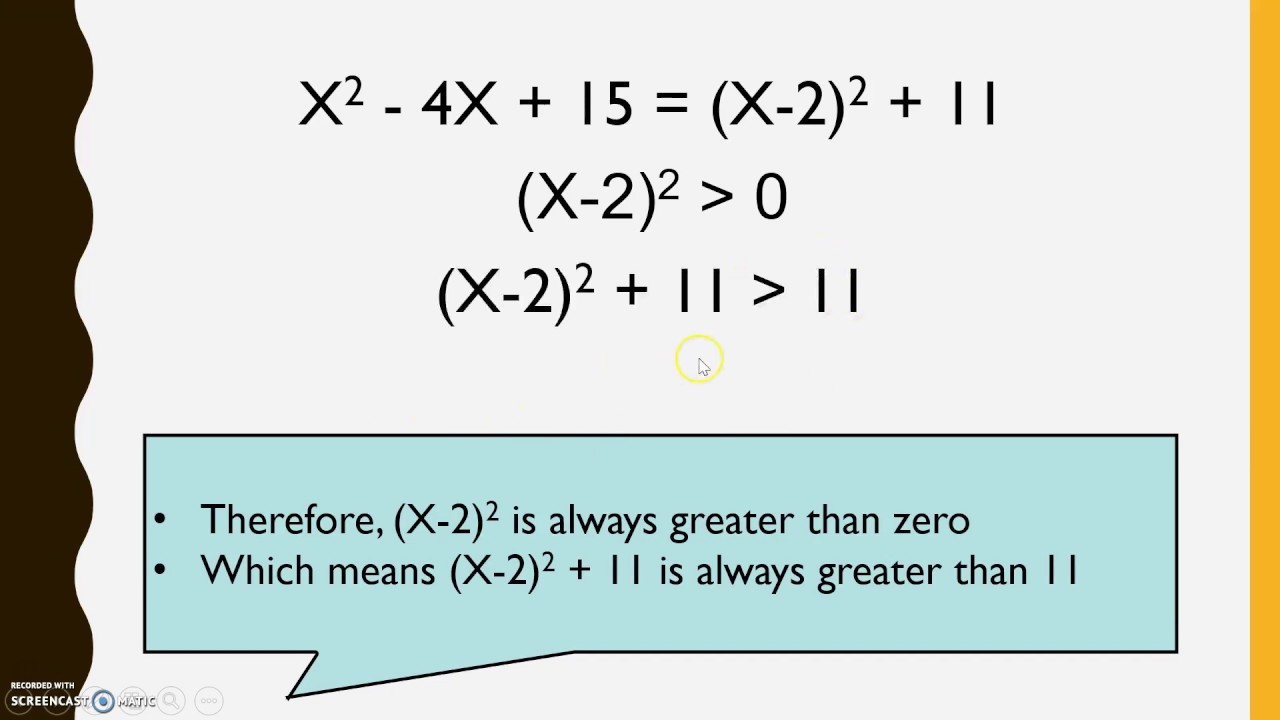 Completing The Square To Find The Minimum Value