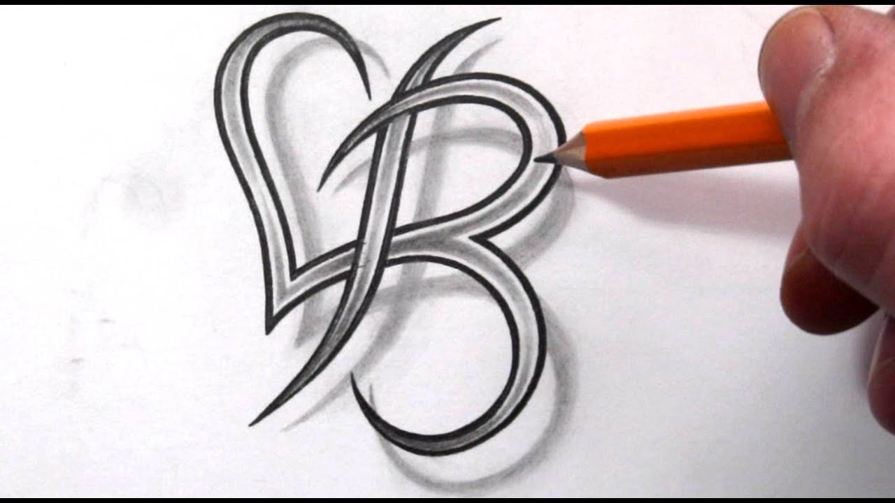 Initial B And Heart Combined Together Celtic Weave Style Letter