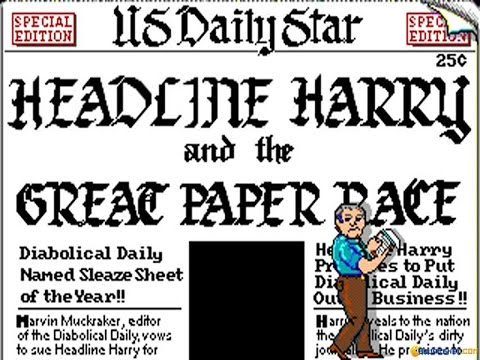 Headline Harry and The Great Paper Race gameplay (PC Game, 1991)