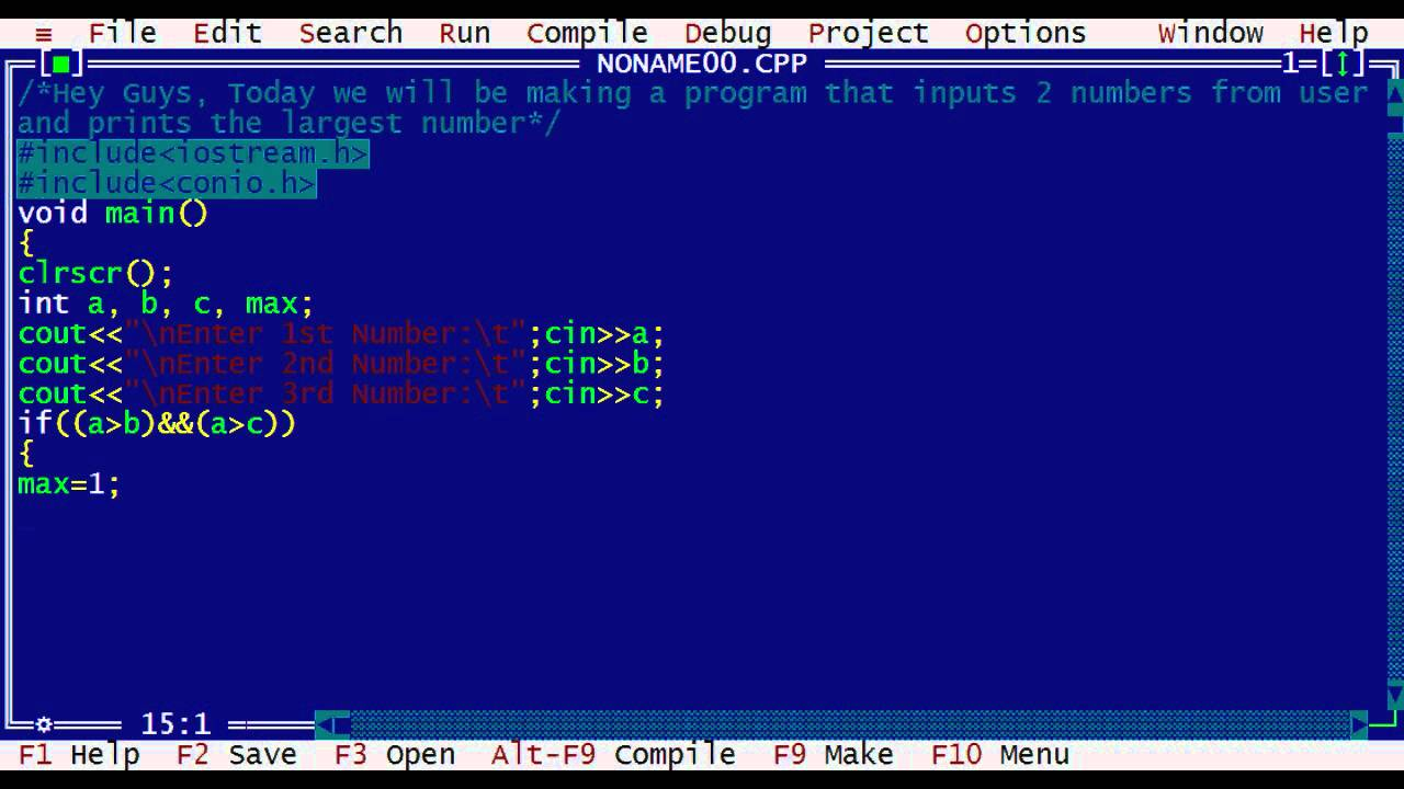 Turbo C Tutorial Largest Number Program Hd Youtube