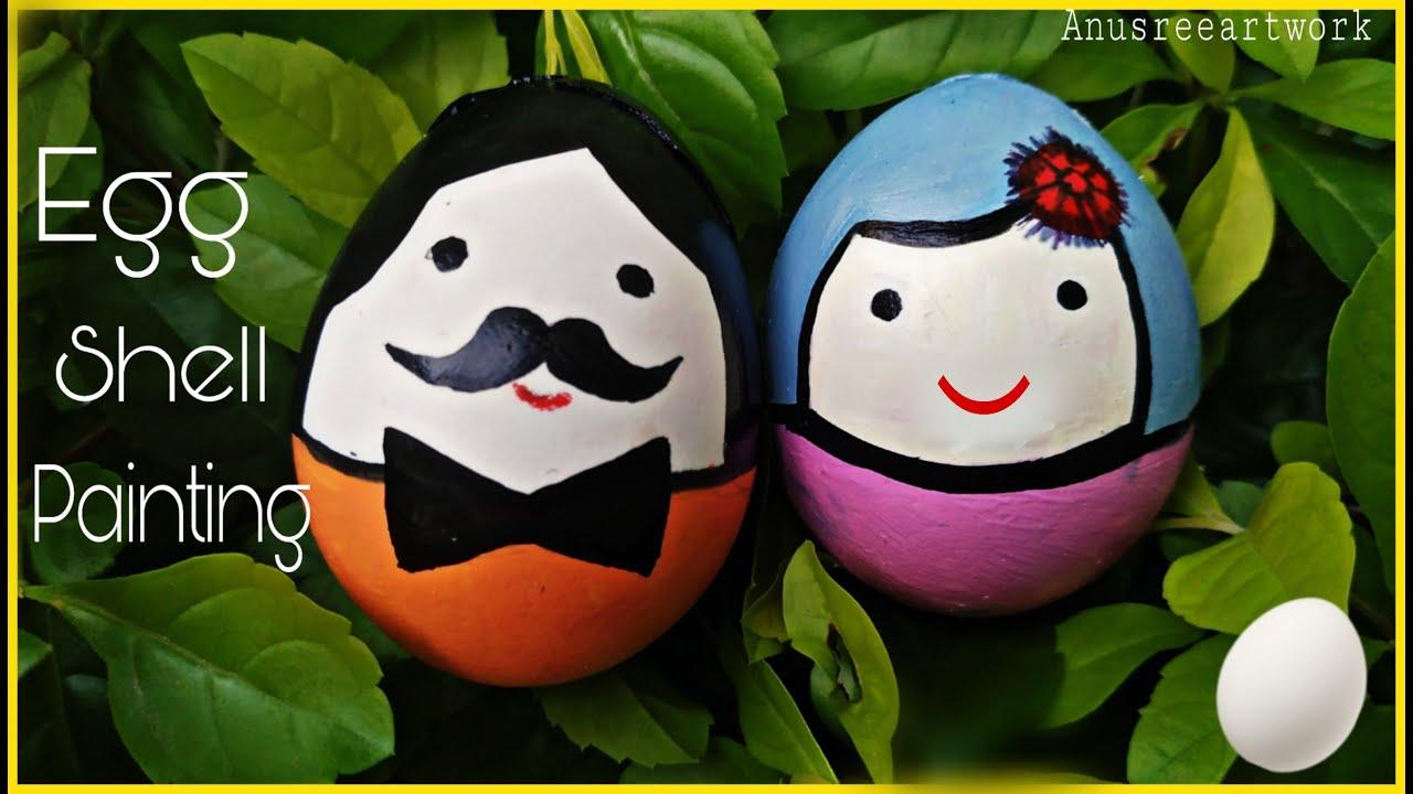 Egg Shell Painting Egg Shell Art Easy Egg Shell Craft For Kids Youtube