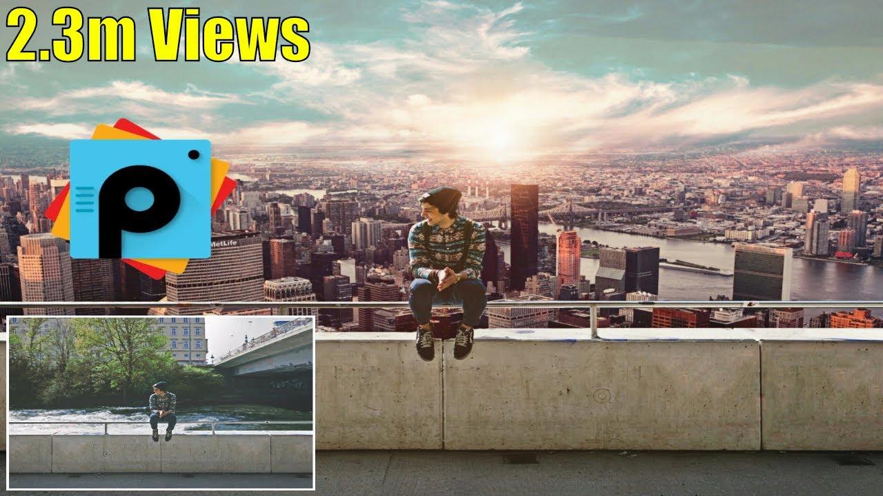 PicsArt Editing Tutorial  Alone Boy Sitting on Wall Photo