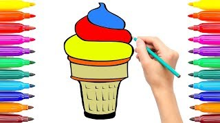 How to Draw Ice Cream for Kids | Coloring Painting Ice Cream Coloring Book | Coloring Ice Cream