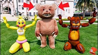 GIANT EVIL SCARY TEDDY BEAR CAPTURE WITHERED FREDDY & CHICA! (GTA 5 Mods FNAF RedHatter)