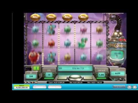Eggomatic Pokie Machine. Very Unique Free Feature - Free Spins! - Big Win. Video Slots