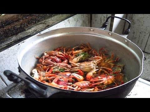 field crab Cooking Village Laos Food 2017