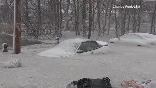 Cars Caught in Flood Waters Turn into Ice Cubes in Boston