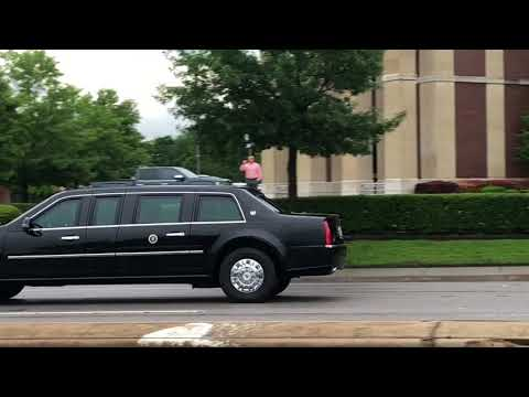 President Trump's motorcade headed for Lovefield Airport after NRA convention in Dallas
