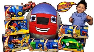 giant blaze and the monster machines toys surprise egg blaze vs lightning mcqueen and jackson storm