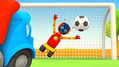 Leo der Lastwagen. Fußballspiel: Russland gegen Spanien. Zeichentrickfilm für Kinder.