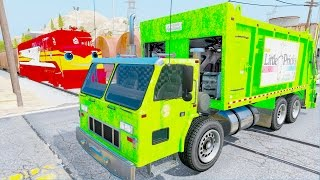 Learn Color Helicopter Trash Cars & Truck In Trouble w Train Trev Diesel by Spiderman Cars Cartoon