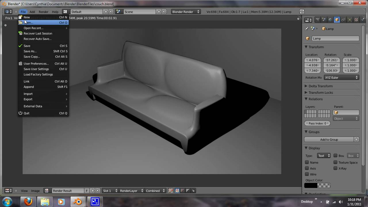 Blender 25 Tutorial Modeling A Couch YouTube
