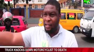 Truck knocks down motorcyclist to death