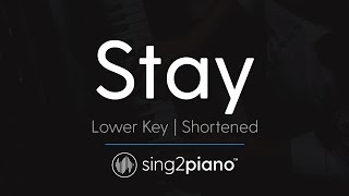 Stay (Shortened) [LOWER Piano Karaoke] Zedd & Alessia Cara