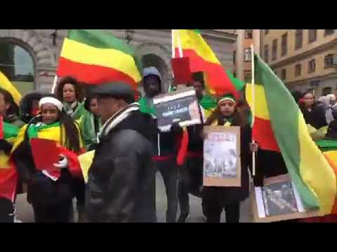 Demonsration of Ethiopians who lives in Sweden against state of emergency.