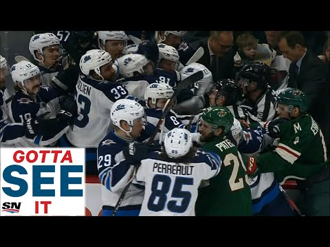 GOTTA SEE IT: Jets & Wild Fight On Bench, After Two Ugly Hits