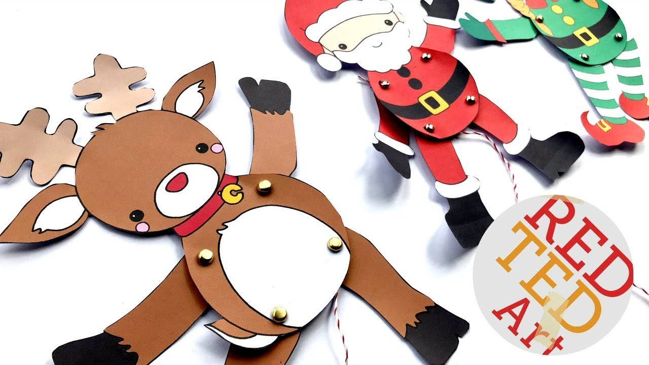 Reindeer Paper Puppets DIY Printable Rudolph Template - YouTube