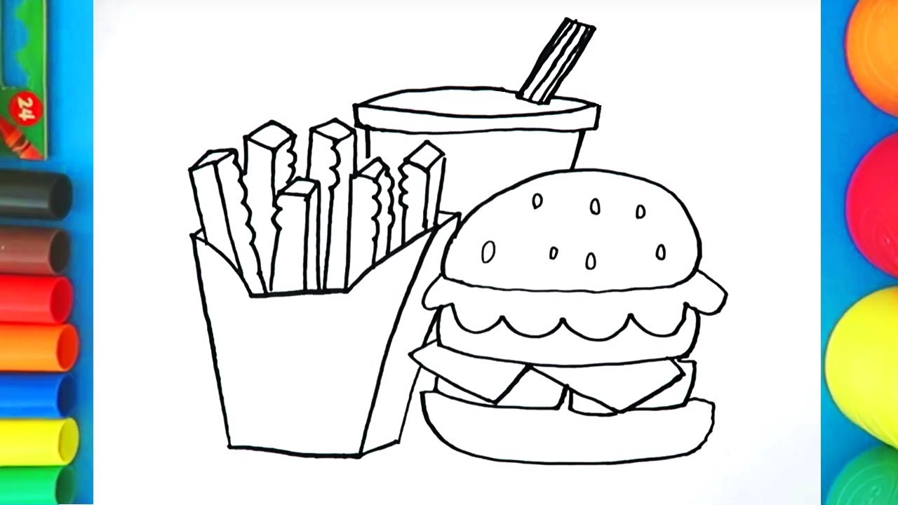 How to draw Fast food - Burger Fries and Drink coloring ...