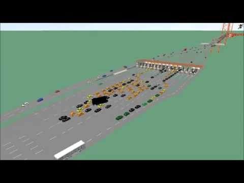 Simulation of the tolling plaza of the Tagus Bridge in Lisbon
