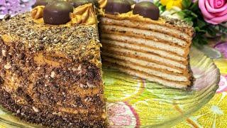 Торт на сковороде. торт без выпечки. Легкий рецепт