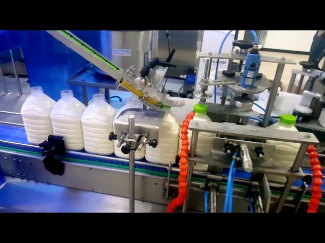 Çiğ süt dolum,kapatma ve etiletleme. makinesi. 3- 5 lt. 6 nozul.