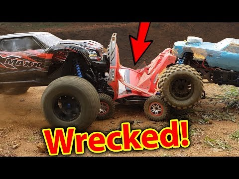 RC Car FULL ON Demolition Derby - Traxxas X-Maxx + HPI Savag