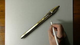 Drawing of a gold bic pen that looks more real than life