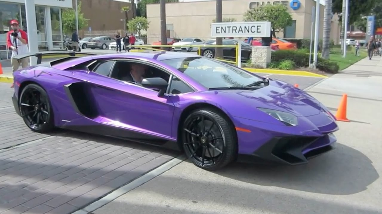 Purple Lamborghini Aventador Sv W Hard Acceleration Youtube