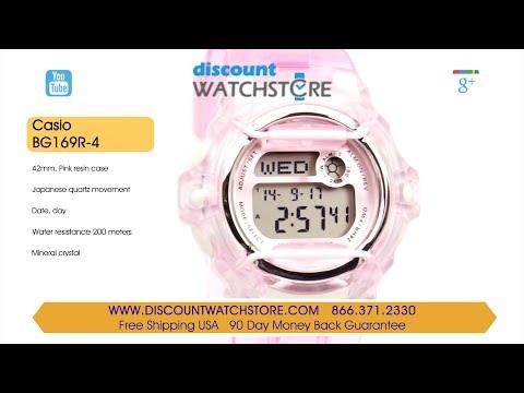 Casio BG169R-4 Women's Pink Baby-G Digital Watch Review Video