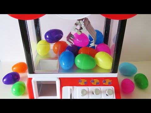 Surprise egg toy claw machine vending machine coin bank toy video for children