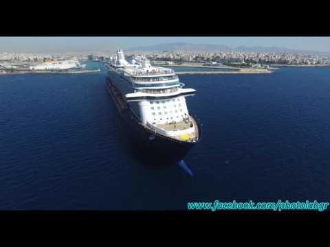 Aerial (drone) video - Mein Schiff 3 leaving Piraeus port