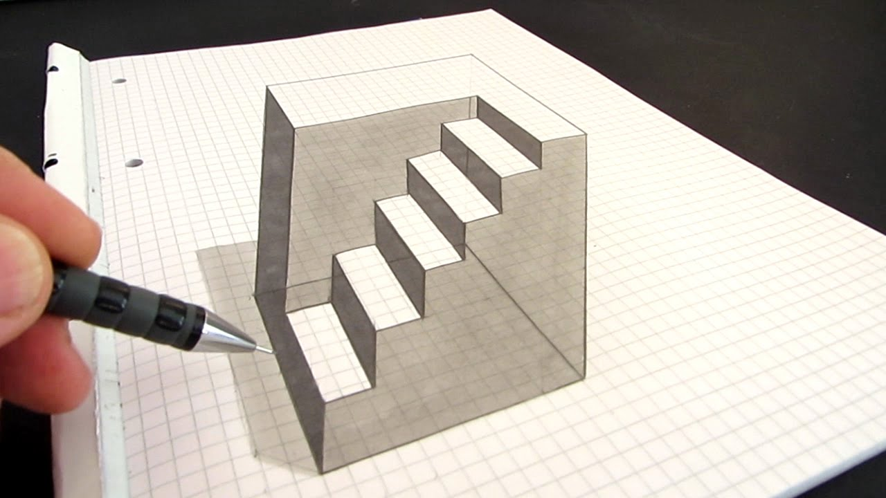 optical illusion illusions draw drawings drawing cube amazing anamorphic cool 3d paintings paper graph simple stairs grid tricks sketches op