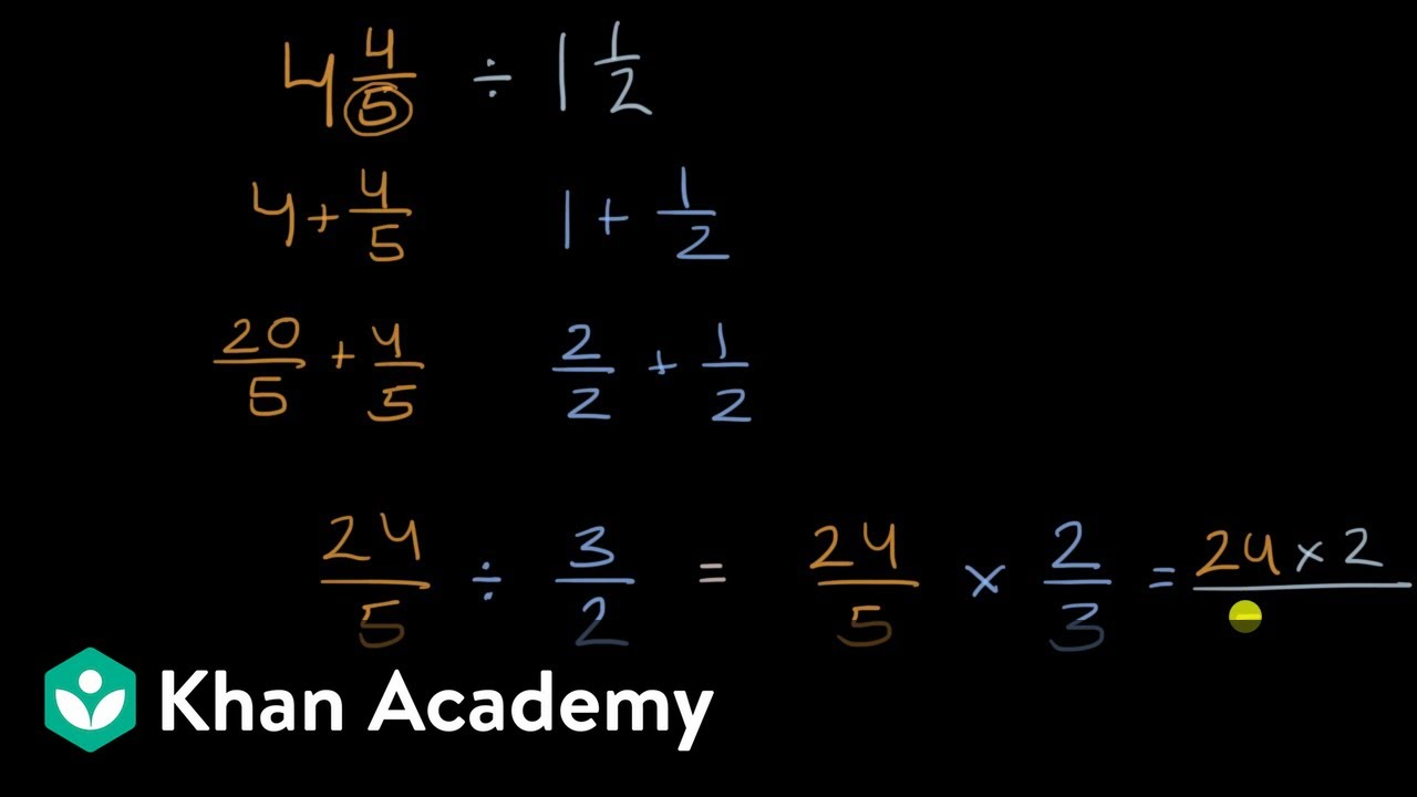 medium resolution of Dividing mixed numbers (video)   Khan Academy