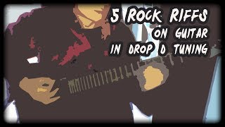 5 rock riffs on guitar (in drop D tuning)