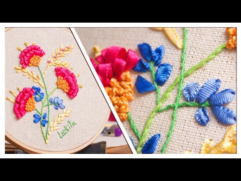 Bordado a mano, flores en 3D con puntada suelta/Handmade embroidery flowers beatiful easy