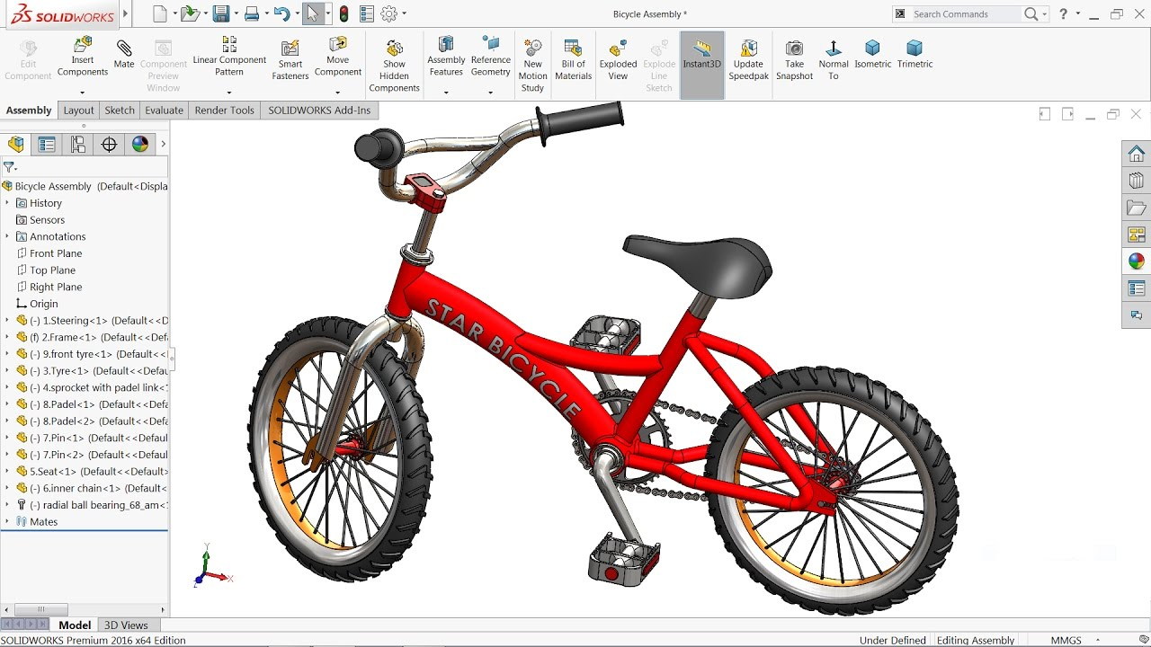 Solidworks tutorial | Design and Assembly of Bicycle in ...