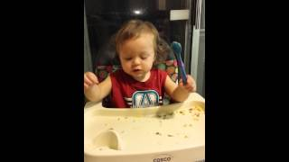 Attempting to teach 18 month old how to use spoon