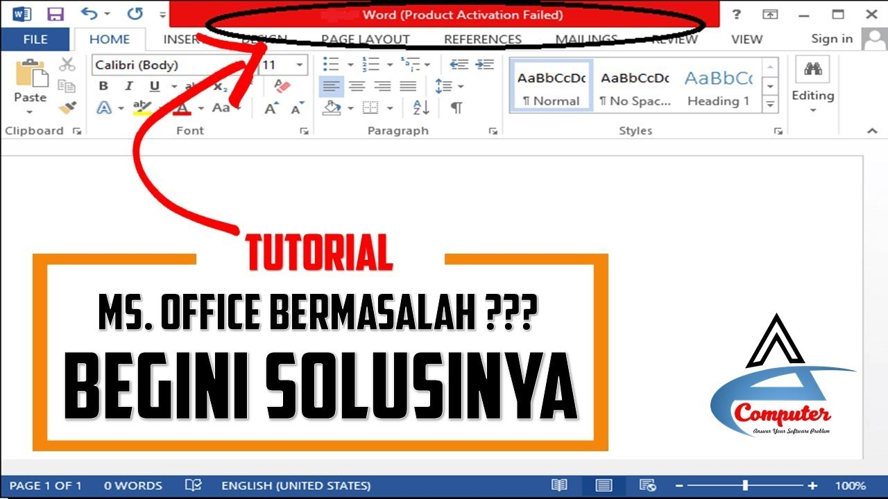 Cara Menghilangkan Product Activation Failed Microsoft Office 2016