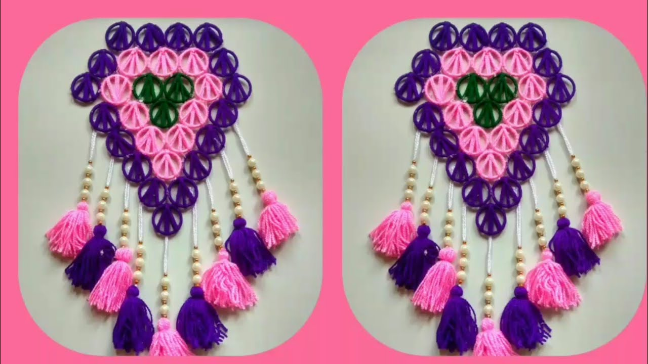Wall hanging toran hanging with bangles  idea !! best reuse ideas!!Best out of  Woolen Craft ideas