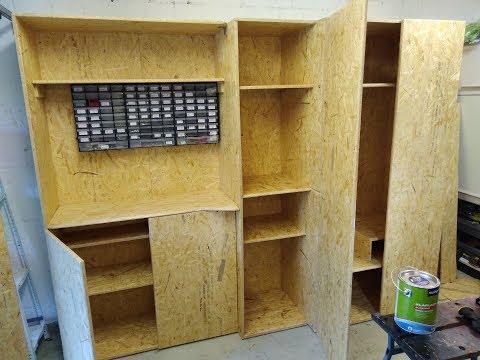 schrank f r garage selber bauen aus osb. Black Bedroom Furniture Sets. Home Design Ideas