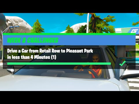 Drive a Car from Retail Row to Pleasant Park in less than 4 Minutes (1) - Fortnite Week 8 Challenges