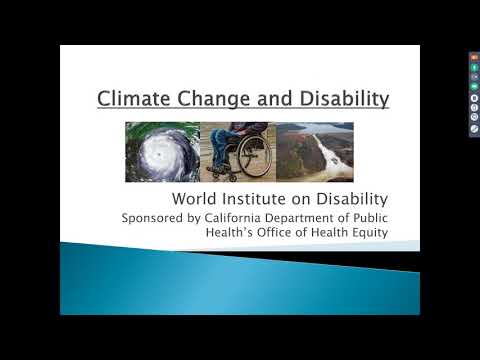 Climate Change and Disability in California Webinar: Jan 2018