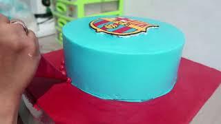 Dekorasi Kue Ultah Tart Cake Sederhana FCB Barcelona