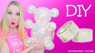 DIY Teddy Bear Out Of Clear Tape – How To Make Clear Tape Bear Nightlight