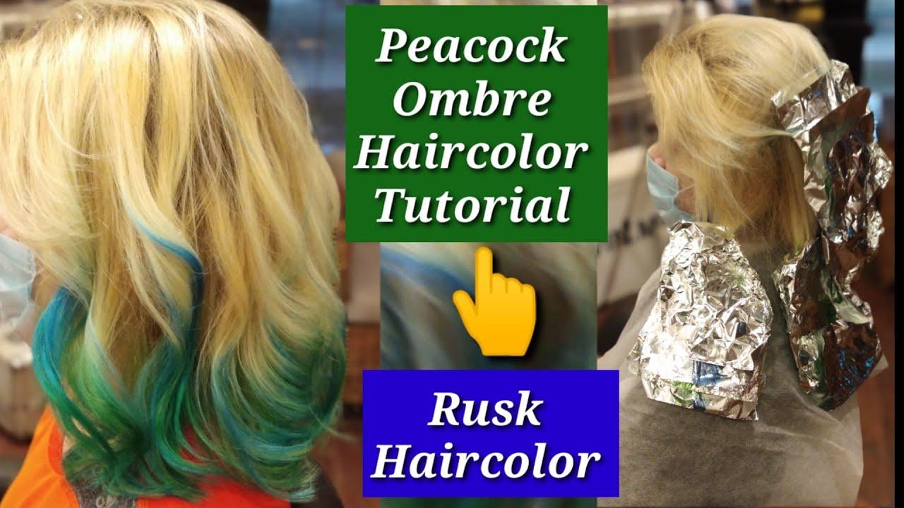Ombre hair color tutorial - peacock hair color tutorial - rusk haircolor - haircut expert Shyama's M