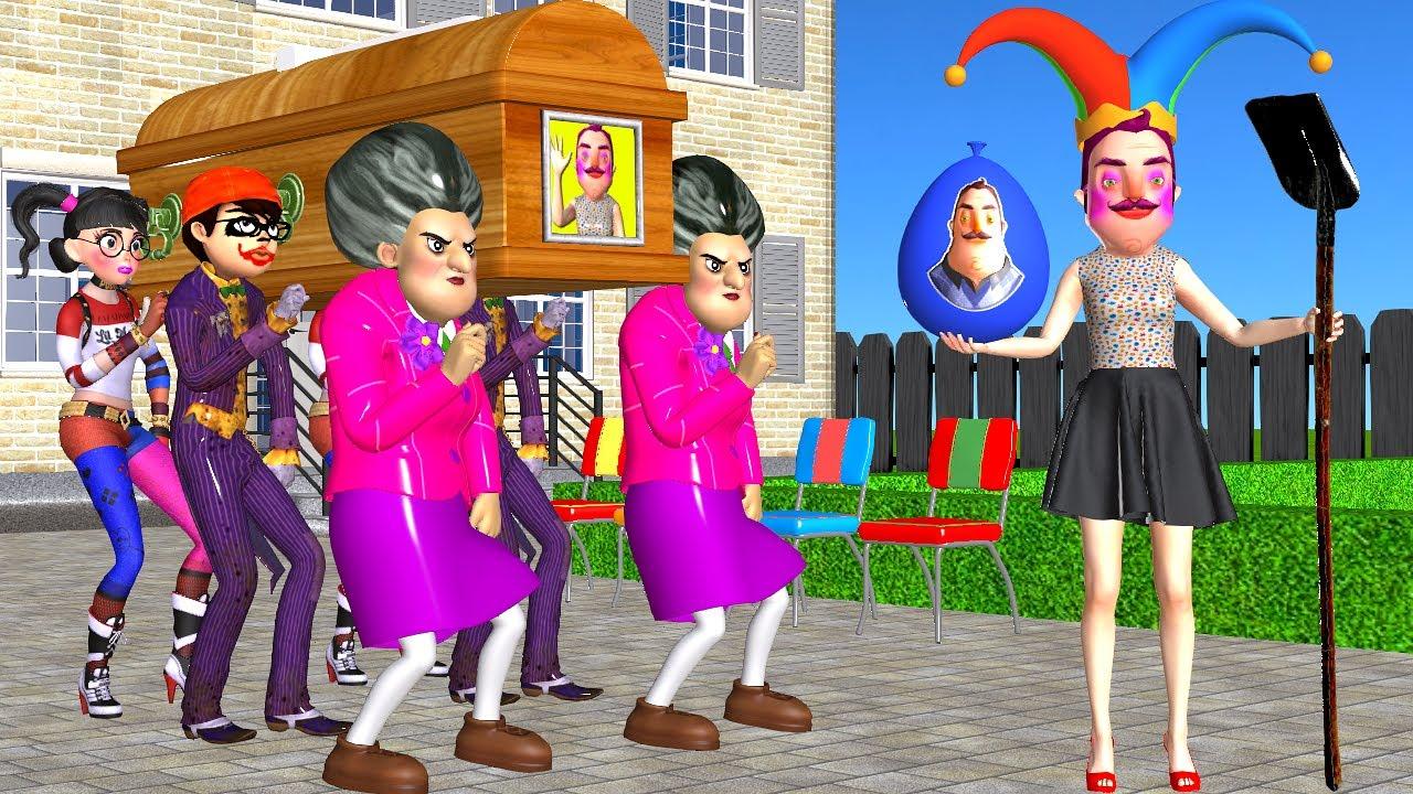 Scary Teacher 3D Miss T vs NickJoker and Tani Harley Quinn Troll Hello Neighbor with Water Balloon