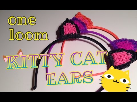Rainbow Loom Kitty Cat Ears Hair Head Band Halloween Costume One Loom