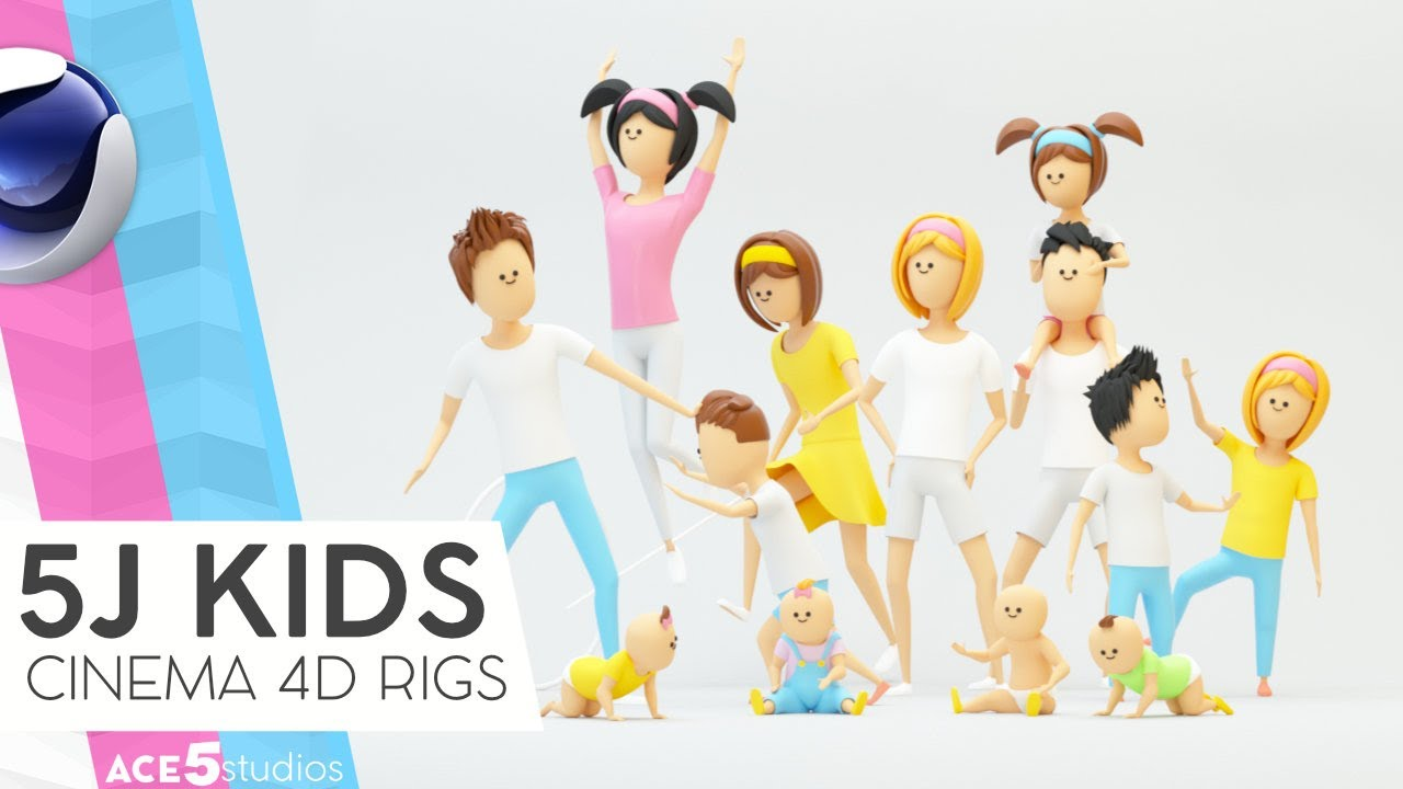 Cinema4D rigged characters - 5j kids intro