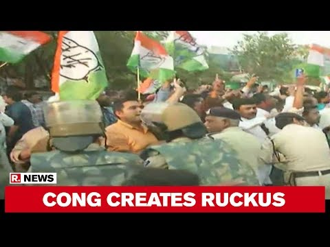 Bhopal: Congress Creates Ruckus Outside BJP Office, Clash With Cops