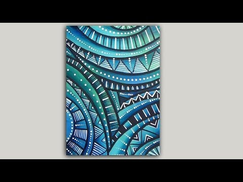 Acrylic Painting Abstract Doodle And Dot Painting Tutorial Youtube